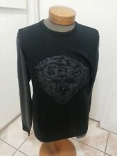 ED HARDY Sweater Tiger Size L Gray and Black Men's