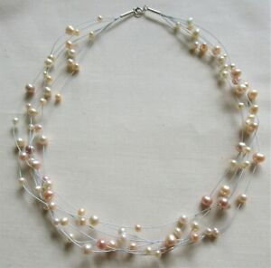 """STERLING SILVER MULTI-STRAND FRESH WATER PEARL NECKLACE 925 18"""" 22.18g (20788)"""