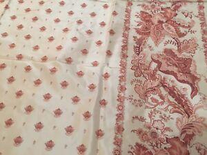 "1.86 Yards Schumacher ""Minuet Taffeta"" Printed Floral 100% Silk Taffeta Fabric"