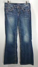SILVER Jeans Lola Flare Womens 28 Distressed Medium Wash Denim Blue Bootcut