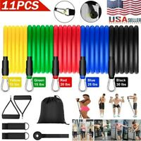 11PCS Resistance Band Yoga Pilates Abs Gym Exercise Fitness Tube Workout Bands