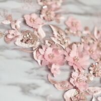 Pink beaded flower embroidery patch lace fabric applique Sewing DIY Au Stock