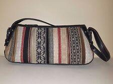 FOSSIL Multi-Colored Textured Fabric/Leather Stripe Baguette Handbag