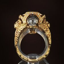 Rare 1700s Museum Quality18k Gold Ring/Diamonds Memento Mori  Death Head Skull