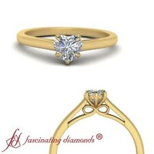 3/4 Carat Bow Pattern Heart Shaped Diamond Cathedral Solitaire Engagement Ring