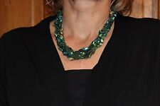 Adjustable Crochet Yarn Necklace Handmade ladder ribbon trellis green teal lyme