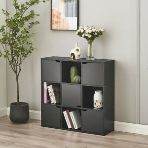 Storage Cube 9 Shelf Bookcase Wooden Display Unit Organiser Black Furniture