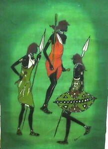 KIWANUKA NAIROBI AFRICAN HUNTERS LARGE ORIGINAL BATIK PAINTING KENYA ARTIST