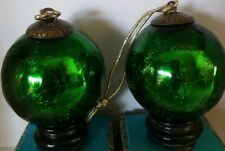 Vintage Mercury heavy Crackle Glass  Kugel Green Christmas Ornament 3""