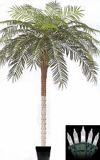 10' Artificial Phoenix Palm Tree Silk Date Coconut Sago in Pot & Christmas Light