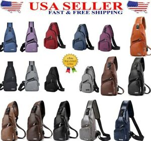 Men's leather Crossbody AND Nylon Shoulder Chest  Bag GOOD for everyday use