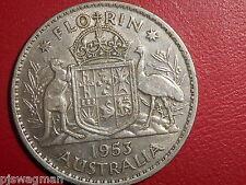 1953 Australian Silver 2/- TWO Shilling Florin QUEEN Elizabeth II  (very Nice)