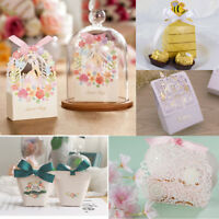 25/50pcs Candy Box Paper Gift Boxes Wedding Party Favors Ribbon Bags Baby Shower