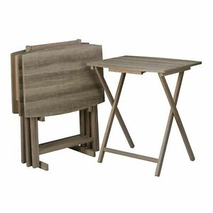 Mainstays 5-Piece Folding XL Oversized Tray Table Set, Rustic Gray, 24x18x26 in