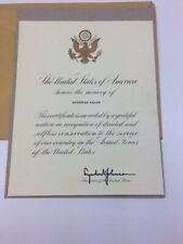Certificate of Memoriam For Service in the Armed Forces of the United States