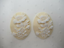 Flower Cameos 40X30mm White on Ivory Floral - Resin - Retro Vintage Style - 6 pc