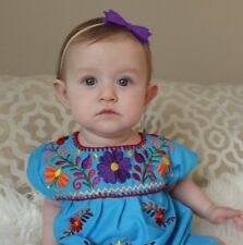 Mexican Baby Girls Baby Blue Dress multicolor Embroidered flowered 3-18 months