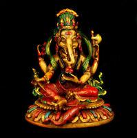 """5.51"""" Nepal Tibetan Buddhism Resin Handmade Elephant Jambhala Buddha Statue"""