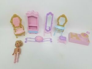 Kelly Barbie Doll With Ballet Spinner and Furniture Lot Good Condition!