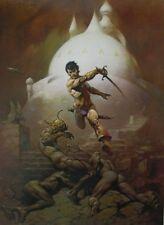 VTG Frank Frazetta Art SWORDS OF MARS 1974 Full Color Plate UFO Sword Alien Sci