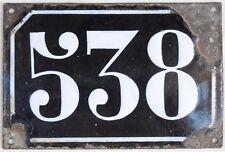 Large old black French house number 538 door gate plate plaque enamel metal sign