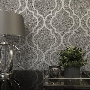 Feature Wall Wallpaper Trellis Geometric Scala Tarmac Stone Gold Silver Designer