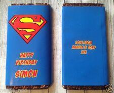 PERSONALISED Superman CHOCOLATE BAR WRAPPER fits Galaxy 114g Birthday Christmas