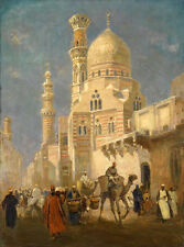 Dream-art Oil painting Egypt Cairo street scenery people in the market & camel