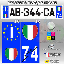 Stickers Plaque D'immatriculation Logo Blason ITALIE - 4 pièces - Type 1