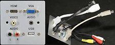 AV Aluminium Wall Plate 1G, VGA/HDMI/Audio Jack/USB2 A/3xPhono Sockets to Tails