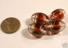 *** CLEARANCE *** Czech Handmade Glass Oval Ruby Gold Clear 18mm