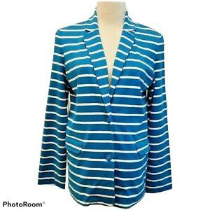 Joan Vass Mulit-color Stripe Blazer Jacket Preppy Nautical Size 1 or 8/10