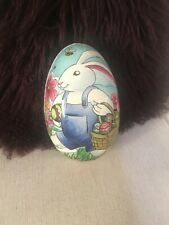 German ? Paper Mache Easter Egg Candy Container rabbit bunny