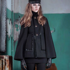 DSQUARED2 $1,350 black bonded wool patent trim a-line Adele 60s cape coat 38 NEW