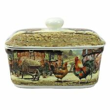 Leonardo Cockerel and Hen China Butter Dish