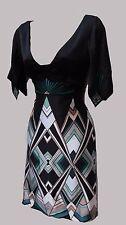 KAREN MILLEN Black Geometric Print Silky Satin Oriental Kimono Formal Dress 8 UK