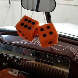 Orange Custom Fuzzy Hanging Rearview Mirror Dice w/ Black Dots chevelle k10 351