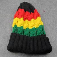 Striped Plain Beanie Knit Ski Cap Skull Hat Warm Solid Color Winter Cuff NEW