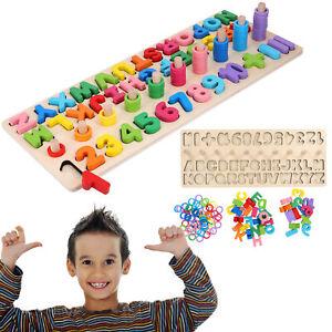 Holzspielzeug Holzpuzzle Kinder Zahlen und Buchstaben lernen Alphabet ABC Holz