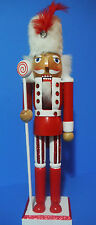 NUTCRACKER CHRISTMAS NUTCRACKER HOLDING STAFF WITH CANDY SWIRL TOP15''