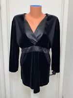 NOTATIONS Womens Black Velour Tie Back V Neck Blouse Pull Over   XL