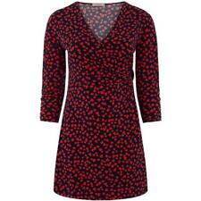 Oasis Heart Print Twist Skater Wrap Mini Dress LS Navy Red Size S Small *REF83