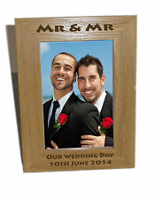 Mr & Mr Wooden Photo Frame 5x7- Personalise This Frame - Free Engraving