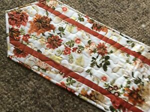 Handcrafted-Quilted Table Runner - Flowers in Autumn Rust / Gold - Elegant
