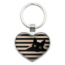 Black Cat In Window Heart Love Metal Keychain Key Chain Ring