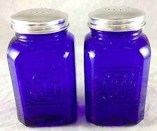COBALT BLUE GLASS SALT & PEPPER SHAKERS LARGE RANGE SIZE S & P SET