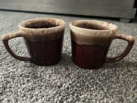 Set of 2 Vintage McCoy Pottery Brown Drip Glaze Coffee Mugs Cups D Handle USA