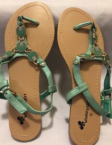 8 Aqua Mint Turquoise Green Gold Diamonte Sparkle Metallic T-Bar Sandals BNWOT