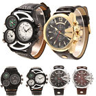 Luxury Sports Military Quartz Dial Men Stainless Steel Wrist Watch Leather Band