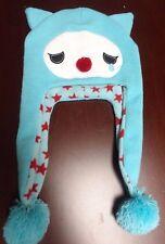 Sad Emo Blue Hat Accessory Bobble Warm Head Blue Red Stars Emoji Beanie